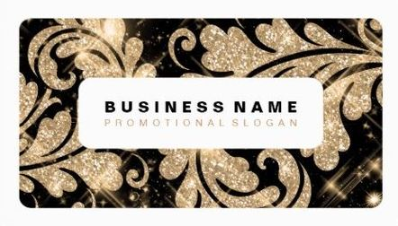Simple Black and Gold Glitter Damask Sparkle Swirls Business Cards