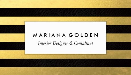 Black and Gold Foil Stripes Interior Designer and Consultant Business Cards