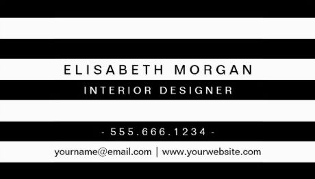 Professional Modern Classic Black White Stripes Interior Designer Business Cards