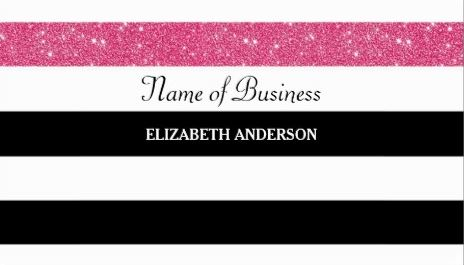 Modern Black and White Stripes Pink Glitter Glitz Business Cards