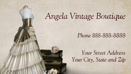 Girly antiques and collectibles business cards girly business cards consignment vintage clothing thrift shop boutique business cards reheart Gallery