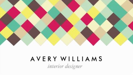 Girly interior design and decorator business cards girly business dive into color retro diamond tile interior designer business cards colourmoves