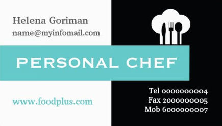 Simple Aqua and Black Color Block Chef Hat Logo Personal Chef Business Cards