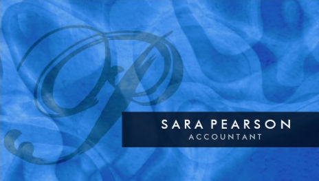 Elegant Blue Abstract With Monogram Personal Accountant Business Cards