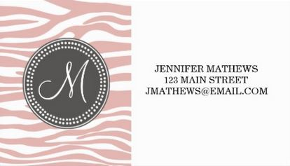 Chic Pink and  White Zebra Pattern Taupe Circle Monogram Business Cards