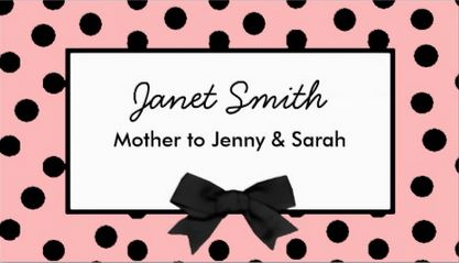 Fashionable Pink and Black Polka Dot Mommy Card Business Cards