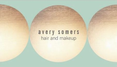 Makeup and Hair Stylist Gold Circle Light Turquoise Business Cards