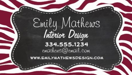 Claret Zebra Stripes Chalkboard Look Frame Interior Design Business Cards