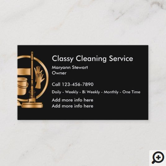 Classy Black and Gold Bucket and Gloves Logo Cleaning Service Business Cards