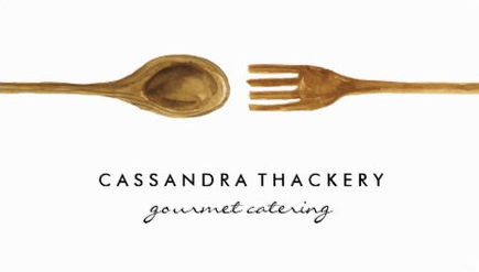 Minimalist Wooden Spoon And Fork Gourmet Catering Business Cards