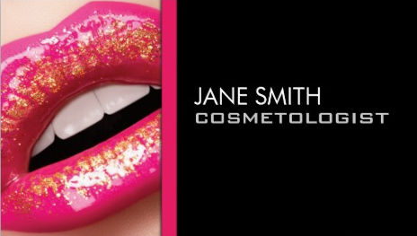 Glam Pink Lips Makeup Artist Cosmetology Business Cards