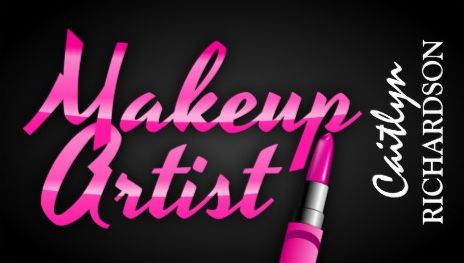 Trendy Makeup Artist Written in Pink Lipstick Business Cards