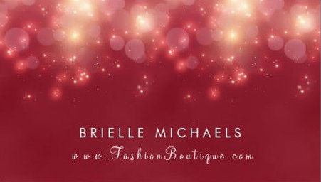 Red Luxe Bokeh Sparkle Elegant Fashion Boutique Business Cards