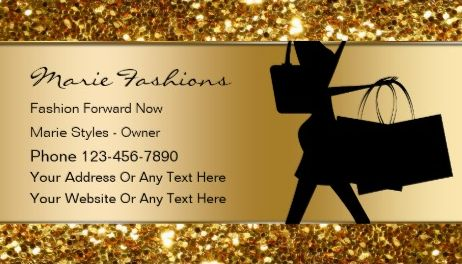 Glamorous Black and Gold Glitter Classy Fashion Boutique Business Cards