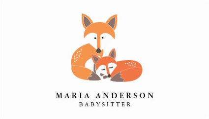 Cute Cuddling Red Fox Mother and Baby Babysitting Business Cards