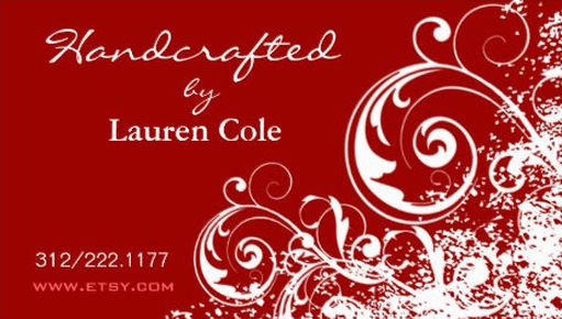 Elegant Red and White Filigree Swirls Handcrafting Business Cards