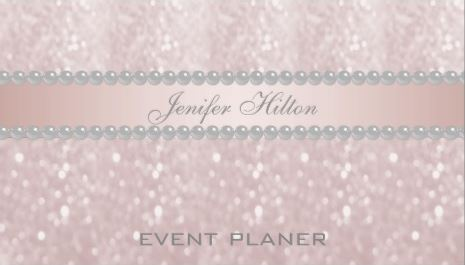 Elegant Soft Pink Bokeh Glitter and Pearls Event Planner Business Cards