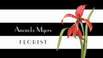 Modern Florist Black White Stripes With Amaryllis Business Cards