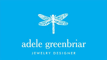 Chic Nature Jewelry Designer Dragonfly Logo Turquoise Blue Business Cards