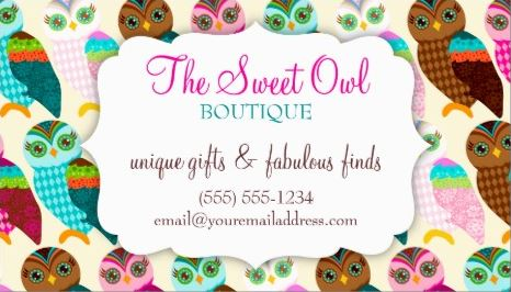 Cute Owl Pattern Girly Boutique Coupon Card Business Cards