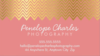 Modern Gold Foil Chevron on Cool Pink Photography Business Cards