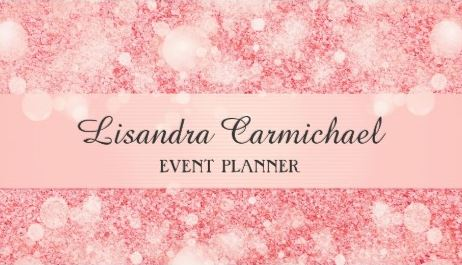 Glitz and Glam Strawberry Ice Pink Bokeh Event Planner Business Cards