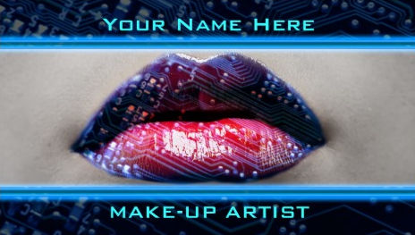 Modern Technology Digital Bling Lips Makeup Artist Business Cards