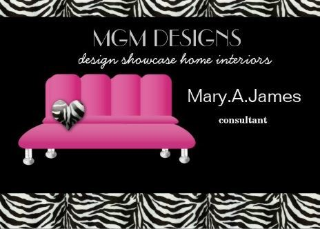 Girly Black and Pink Couch Trendy Zebra Print Interior Decorator Business Cards