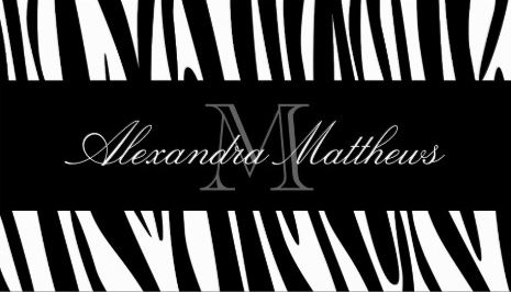 Girly animal print business cards page 3 girly business cards chic black and white monogram initials zebra print business cards reheart Choice Image