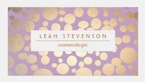 Faux Gold Leaf Cosmetologist Purple Stylist Business Cards