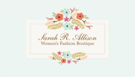 Cute Country Flowers Vintage Floral Boutique Business Cards