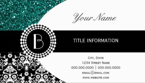 Elegant Teal Glitter and Damask Pattern with Monogram Business Cards