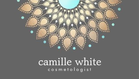 Luxury Cosmetology Soft Gold Turquoise Ornate Motif Gray Business Cards