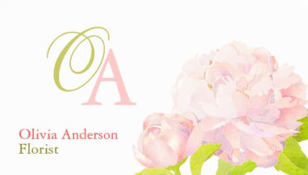 Elegant Script Monogram Soft Pink Peony Chic Florist Business Cards