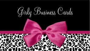 Vivacious Dark Pink Ribbon Bow Leopard Print Boutique Business Cards