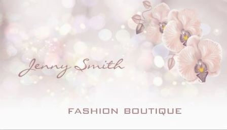 Professional Peach Luxury Orchid Glitter Bokeh Boutique Business Cards