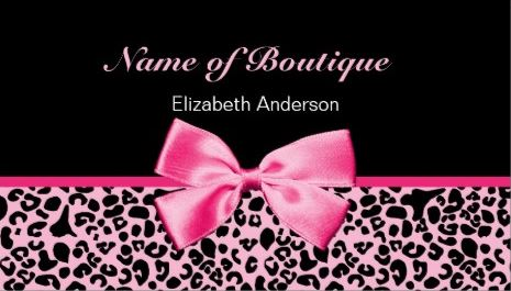 Trendy Boutique Pink And Black Leopard Pink Ribbon Business Cards