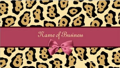 Trendy Jaguar Print With Girly Pink Ribbon Business Name Business Cards