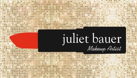 Glamorous Gold Sequin Makeup Artist Red Lipstick Logo Beauty Business Cards