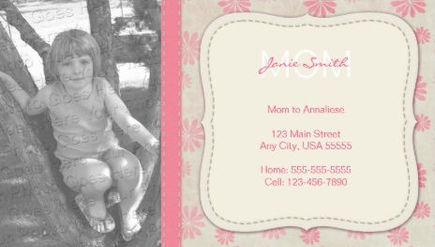 Mommy Custom Photo Pink Flower Pattern Calling Card Business Cards