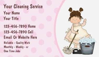 Cute Pink Mopping Bubbles Bucket Girly House Cleaning Business Cards
