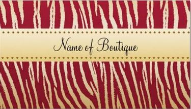 Sophisticated Red and Gold Tiger Stripes Animal Print Boutique Business Cards