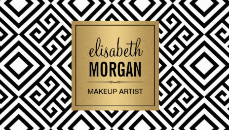 Makeup Artist Classy Gold Geometric Abstract Pattern Business Cards