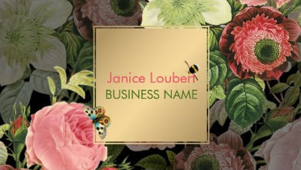 Beautiful Pink Vintage Roses Butterfly and Bee With Gold Box Business Cards