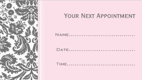 Feminine Pink and Grey Damask Salon Appointment Reminder Business Cards