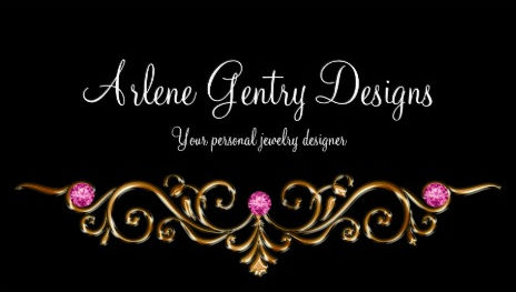 Elegant Pink Gem and Gold Swirl Filigree Jeweler Business Cards