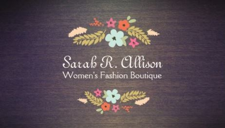 Cute Vintage Boutique Flowers Dark Wood Floral Business Cards
