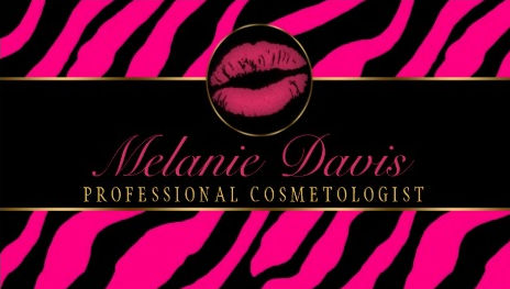 Glam Pink and Black Zebra Print Deep Pink Lipstick Kiss Business Cards