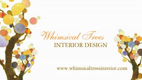 Unique Whimsical Tree Theme Interior Design Business Cards