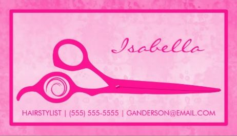 Girly Hot Pink Scissors Salon Appointment Reminder Business Cards